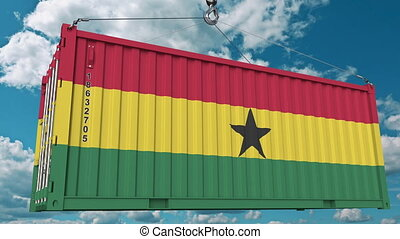 Container with flag of Ghana. Ghanaian import or export related conceptual 3D animation