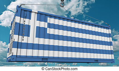 Container with flag of Greece. Greek import or export related conceptual 3D rendering