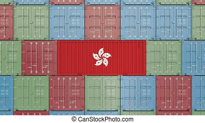 Container with flag of Hong Kong. Import or export related...