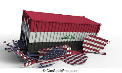 Container with flag of Iraq breaks cargo container with flag...