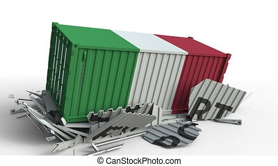 Container with flag of Italy breaking container with EXPORT...