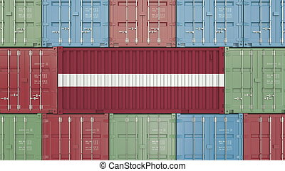 Container with flag of Latvia. Latvian goods related conceptual 3D rendering