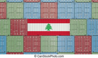 Container with flag of Lebanon. Lebanese import or export...