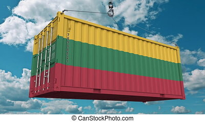 Container with flag of Lithuania. Lithuanian import or export related conceptual 3D animation