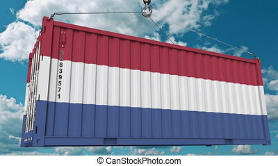 Container with flag of Netherlands. Dutch import or export...