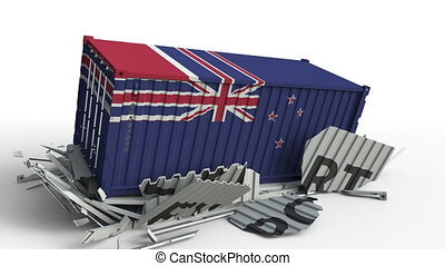 Container with flag of New zealand breaking container with...