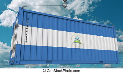 Container with flag of Nicaragua. Nicaraguan import or export related conceptual 3D animation