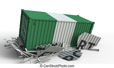 Container with flag of Nigeria breaking container with...