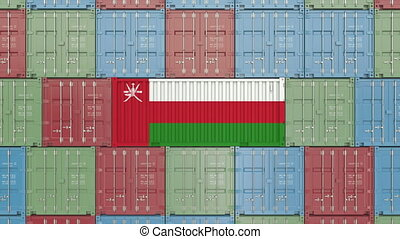 Container with flag of Oman. Omani import or export related 3D animation