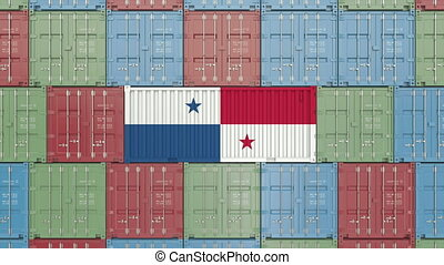 Container with flag of Panama. Panamian import or export...