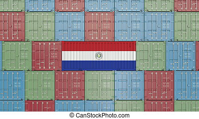 Container with flag of Paraguay. Paraguayan goods related conceptual 3D rendering