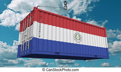 Container with flag of Paraguay. Paraguayan import or export related conceptual 3D animation