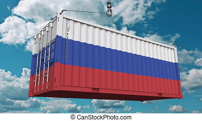 Container with flag of Russia. Russian import or export related conceptual 3D animation