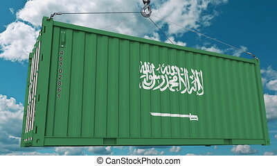 Container with flag of Saudi Arabia. Import or export...
