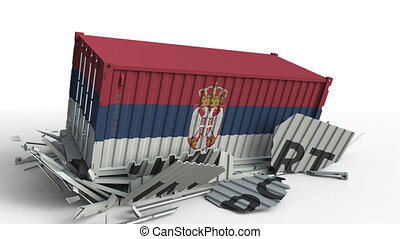 Container with flag of Serbia breaking container with IMPORT...
