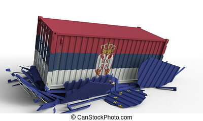 Container with flag of Serbia breaks cargo container with...