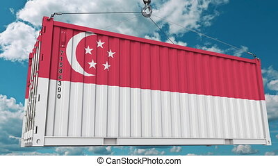 Container with flag of Singapore. Singaporean import or...