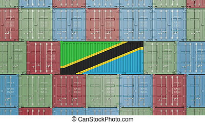 Container with flag of Tanzania. Tanzanian goods related conceptual 3D rendering