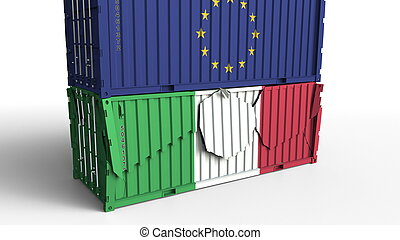 Container with flag of the European Union EU breaks cargo container with flag of Italy. Trade war or economic conflict related conceptual 3D rendering