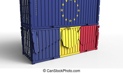 Container with flag of the European Union EU breaks cargo container with flag of Romania. Trade war or economic conflict related conceptual 3D rendering