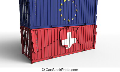 Container with flag of the European Union EU breaks cargo container with flag of Switzerland. Trade war or economic conflict related conceptual 3D rendering