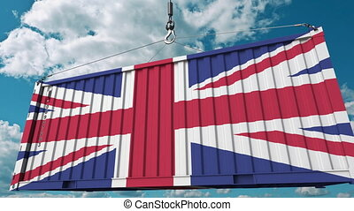 Container with flag of the United Kingdom. British import or export related conceptual 3D animation