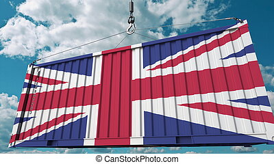 Container with flag of the United Kingdom. British import or export related conceptual 3D rendering