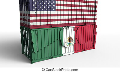 Container with flag of the United States breaks cargo container with flag of Mexico. Trade war or economic conflict related conceptual 3D rendering