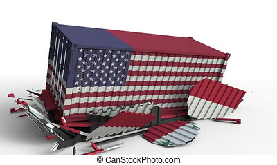 Container with flag of the United States breaks cargo...