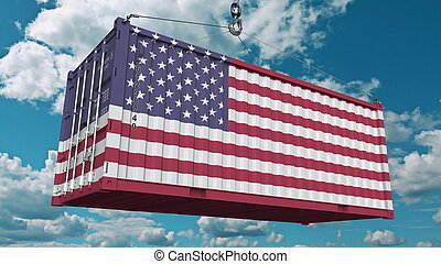 Container with flag of the United States of America. American import or export related conceptual 3D rendering