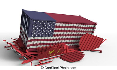 Container with flag of the USA breaks cargo container with...
