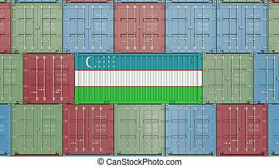Container with flag of Uzbekistan. Uzbek goods related conceptual 3D rendering