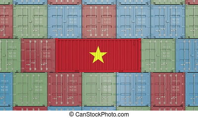 Container with flag of Vietnam. Vietnamese import or export...