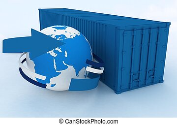 container with globe on white background