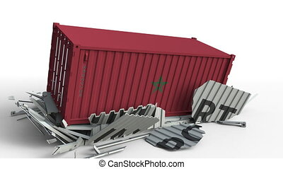 Container with IMPORT text being crashed with container with flag of Morocco, conceptual 3D animation