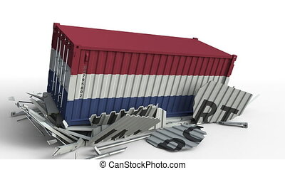 Container with IMPORT text being crashed with container with flag of Netherlands, conceptual 3D animation