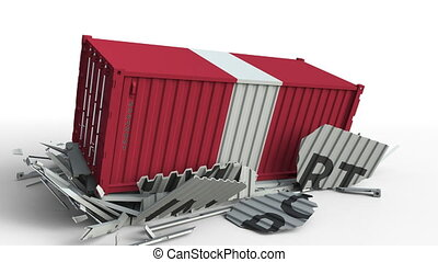 Container with IMPORT text being crashed with container with flag of Peru, conceptual 3D animation