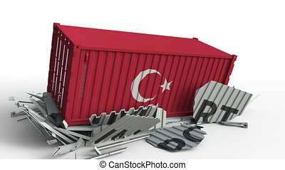 Container with IMPORT text being crashed with container with flag of Turkey, conceptual 3D animation