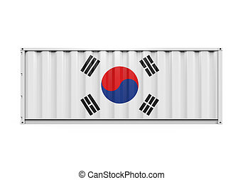 Container with Korea Flag isolated on white background. 3D render