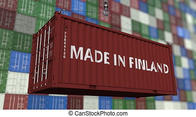 Container with MADE IN FINLAND caption. Finnish import or...