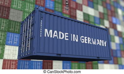 Container with MADE IN GERMANY caption. German import or...