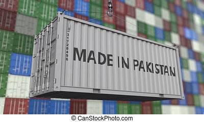 Container with MADE IN PAKISTAN caption. Pakistani import or...