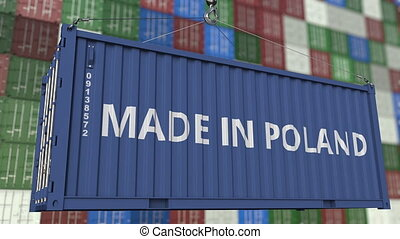 Container with MADE IN POLAND caption. Polish import or...