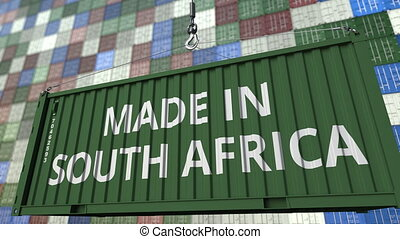 Container with MADE IN SOUTH AFRICA caption. Import or...