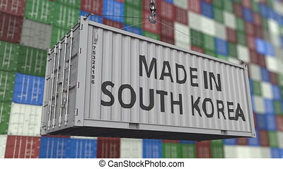 Container with MADE IN SOUTH KOREA caption. Korean import or...