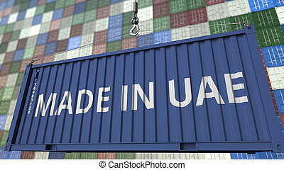 Container with MADE IN UAE caption. United Arab Emirates import or export related 3D rendering