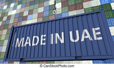Container with MADE IN UAE caption. United Arab Emirates...