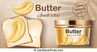 Container with natural butter from fresh milk. Spreading on toasted bread. Natural smooth texture. Place for text. Realistic 3D mockup product placement. Vector