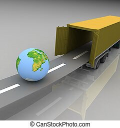 Container with open doors and a globe. We offer international transportation