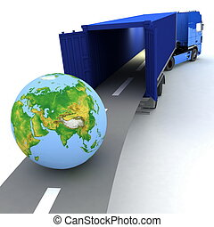 Container with open doors and a globe. We offer international transportation.